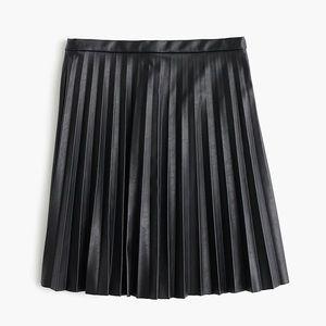 J. Crew pleated mini leather skirt NWT